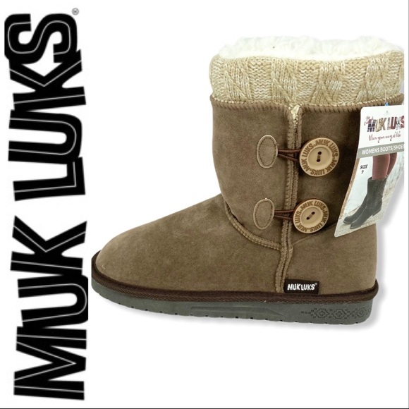 MUK LUKS Brown Fleece Lined Water Resistant Boots